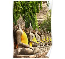 Buddha statues in Ayutthaya temple Poster