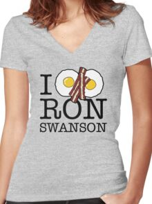 All the bacon and eggs Women's Fitted V-Neck T-Shirt