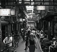 ~ Degraves Street Melbourne in B&W ~ by Lynda Heins