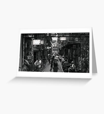 ~ Degraves Street Melbourne in B&W ~ Greeting Card