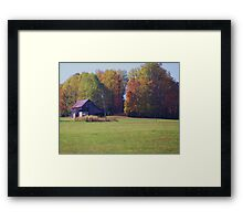 AN OLD BARN IN HILLS Framed Print