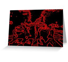 Beatles Abbey Road Black And Red Greeting Card
