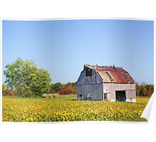 AN OLD WHITE BARN IN THE KNOBS Poster