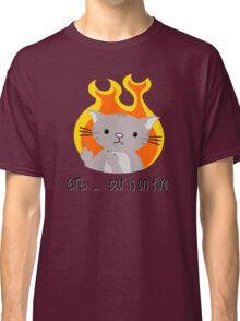 Nerd cat on fire Classic T-Shirt