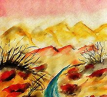 A little flash flood in desert, watercolor by Anna  Lewis