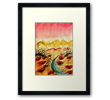 A little flash flood in desert, watercolor Framed Print