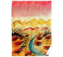 A little flash flood in desert, watercolor Poster