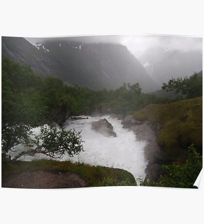 Ice capped mountains with glaciers, seen through mist Norway Poster