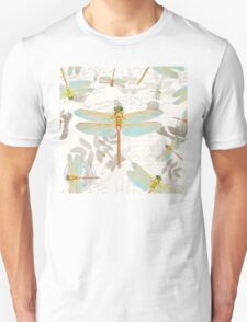 Vintage Botanicals collection dragonflies on the wing Unisex T-Shirt