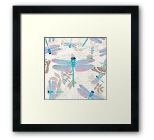 Vintage Botanicals collection turquoise and lavender dragonflies Framed Print