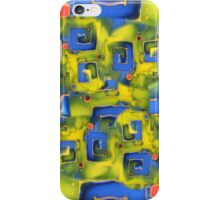 iphone case - lime and blue silk painting iPhone Case/Skin