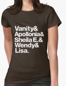 Prince Protégés Apollonia & Carmen Electra Helvetica Threads Womens Fitted T-Shirt
