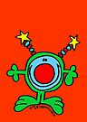 Green Doodle Dude on Orange Red by Sammy Nuttall