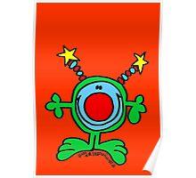 Green Doodle Dude on Orange Red Poster