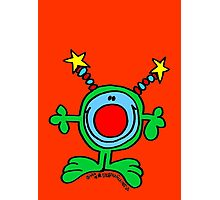 Green Doodle Dude on Orange Red Photographic Print