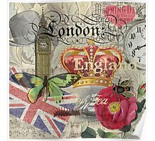 Travel London England Vintage British Gift Europe  Poster