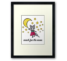 Reach for the Moon: Cute Whimsical Wolf Moon Drawing Framed Print