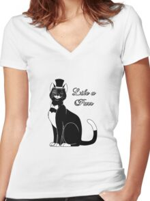 Like a Purr Women's Fitted V-Neck T-Shirt