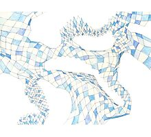 Geometric landscape blue drawing Photographic Print