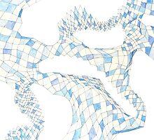 Geometric landscape blue drawing by BellaBark