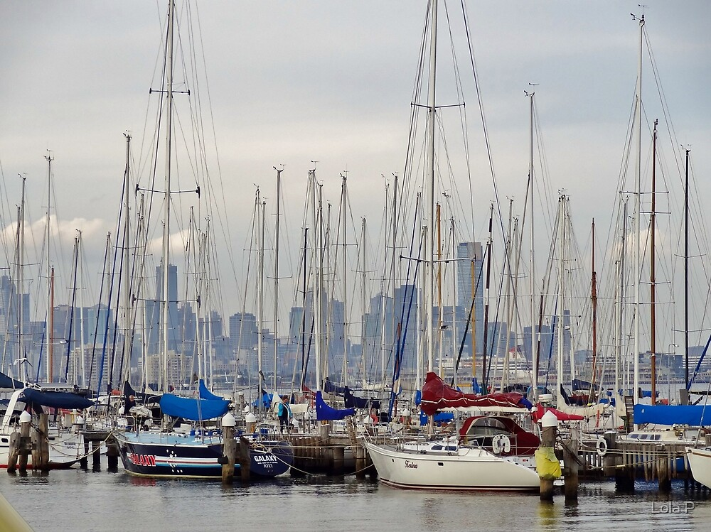Melbourne beyond tall masts from Williamstown pier. by lols