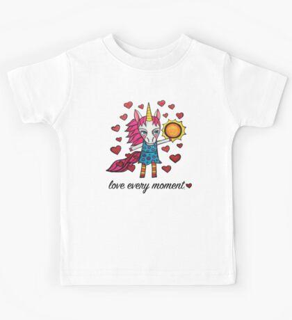 Love Every Moment: Cute Whimsical Unicorn Drawing Kids Tee