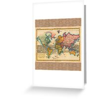 World Map 1700s Antique Vintage Hemisphere Continents Geography Greeting Card