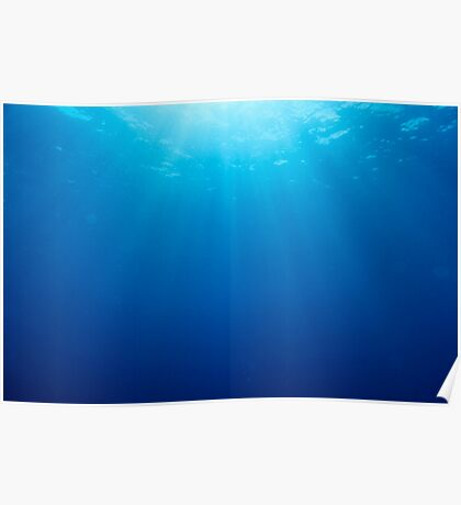 Rays of sunlight shining into water, underwater view Poster