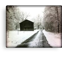 Snowy Country Road in Winter Photography Canvas Print