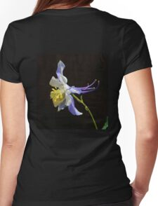 Blue Columbine in Black  Womens Fitted T-Shirt