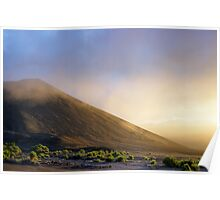 Ash plains around Mount Yasur at sunset Poster