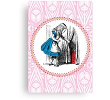 Alice in Wonderland | Alice, with Key in Hand, Pulls Back the Curtain to Find the Door to Wonderland  Canvas Print