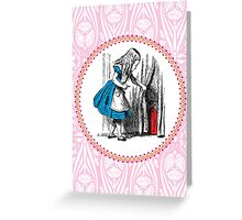 Alice in Wonderland | Alice, with Key in Hand, Pulls Back the Curtain to Find the Door to Wonderland  Greeting Card