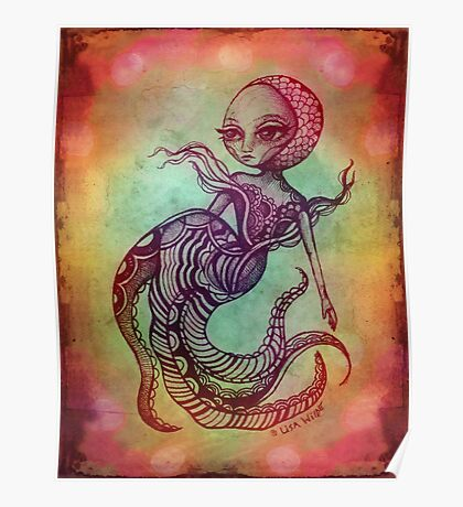 Rainbow Octopus Mermaid Poster