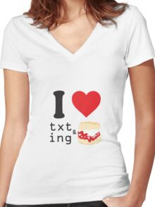 Texting and scones... Women's Fitted V-Neck T-Shirt
