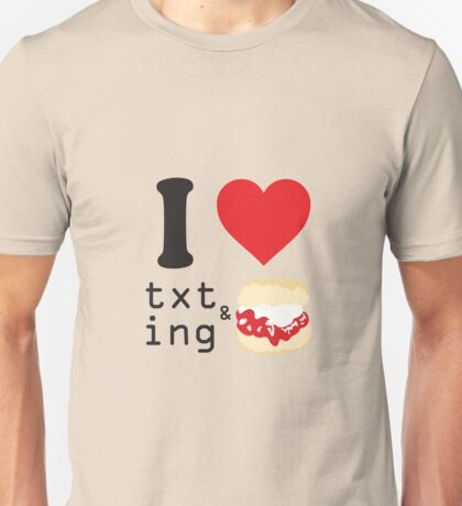 Texting and scones... Unisex T-Shirt