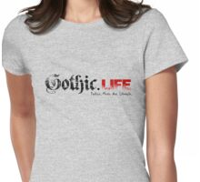 Gothic.Life Logo (White with tag) Womens Fitted T-Shirt