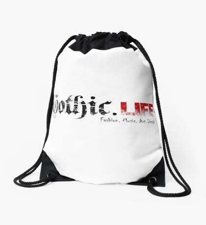 Gothic.Life Logo (White with tag) Drawstring Bag
