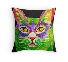 green cat Throw Pillow