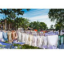 India, Drying linen Photographic Print