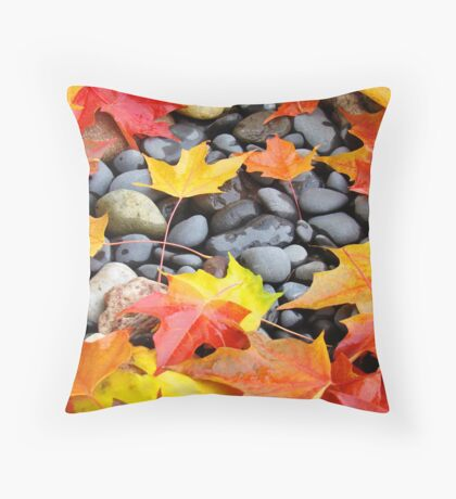 Fall Art prints Colorful Autumn Leaves Rocks Throw Pillow