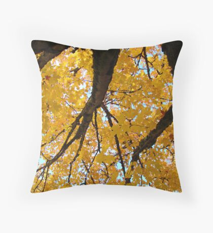 Yellow Autumn Trees prints Golden Fall Leaves Throw Pillow