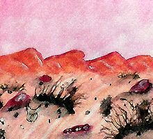 Desert scene, on a hot day, watercolor by Anna  Lewis