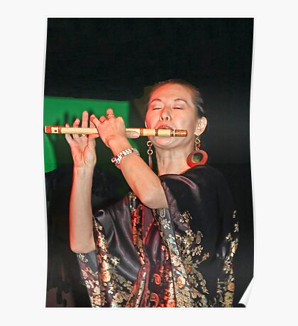 Traditional Chinese Flutist  Poster