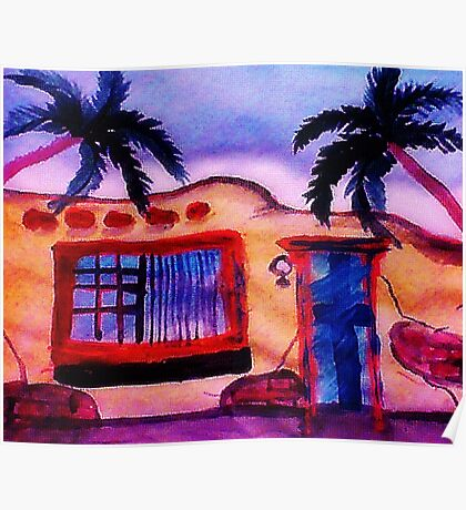 A old stucco house breaking down, watercolor Poster