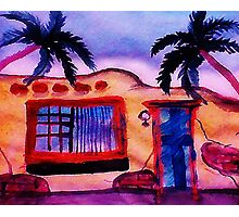 A old stucco house breaking down, watercolor Photographic Print