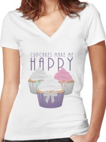 Cupcakes Make Me Happy Women's Fitted V-Neck T-Shirt