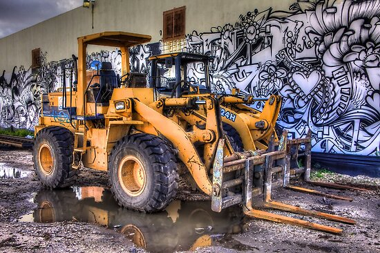Two Dozers & an Art Wall by njordphoto
