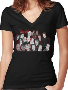 Angel character collage  Women's Fitted V-Neck T-Shirt