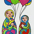 Babushka girls with balloons by Kelly Gatchell Hartley
